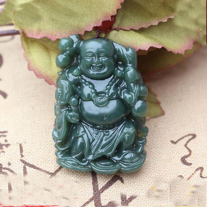 Hetian jade fortune-seeking station Buddha pendant natural hetian jade Guanyin Buddha male jade pendant