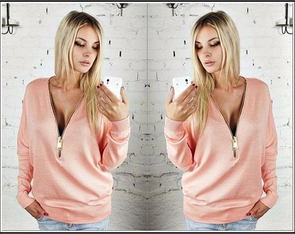 Women Sexy Fashion Batwing Sleeve Blouse Deep V Collar Zipper Sweater Long Sleeved T-shirt Plus Size S-5XL (3)