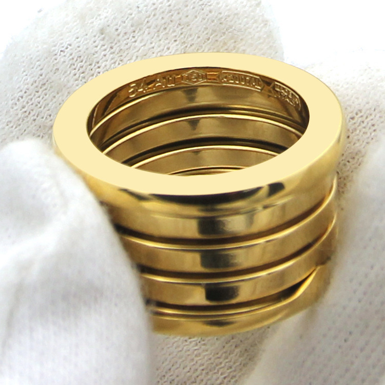 fashion jewelry 316L titanium steel plating spring ring rose gold wide ring 5 ring for woman and man