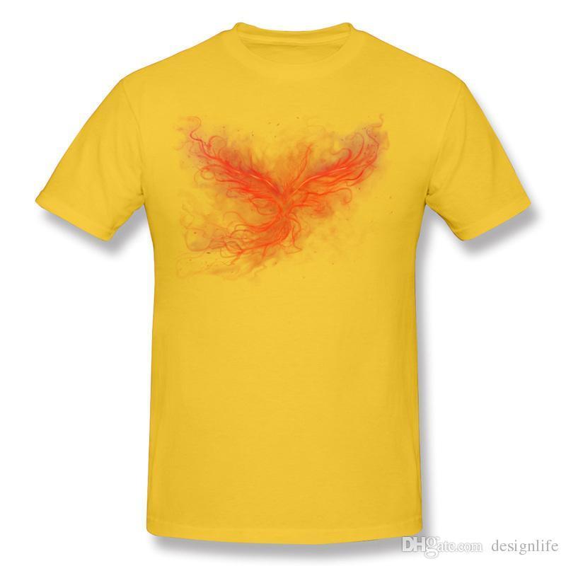 Popular Mens 100% Algodão O Phoenix Rise Tee Shirt Dos Homens Tripulação Pescoço Cinza de Manga Curta Camisetas 3XL Impresso Na Camiseta