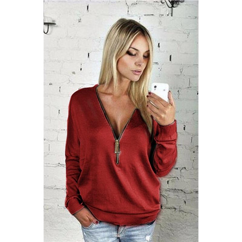 Women Sexy Fashion Batwing Sleeve Blouse Deep V Collar Zipper Sweater Long Sleeved T-shirt Plus Size S-5XL (12)