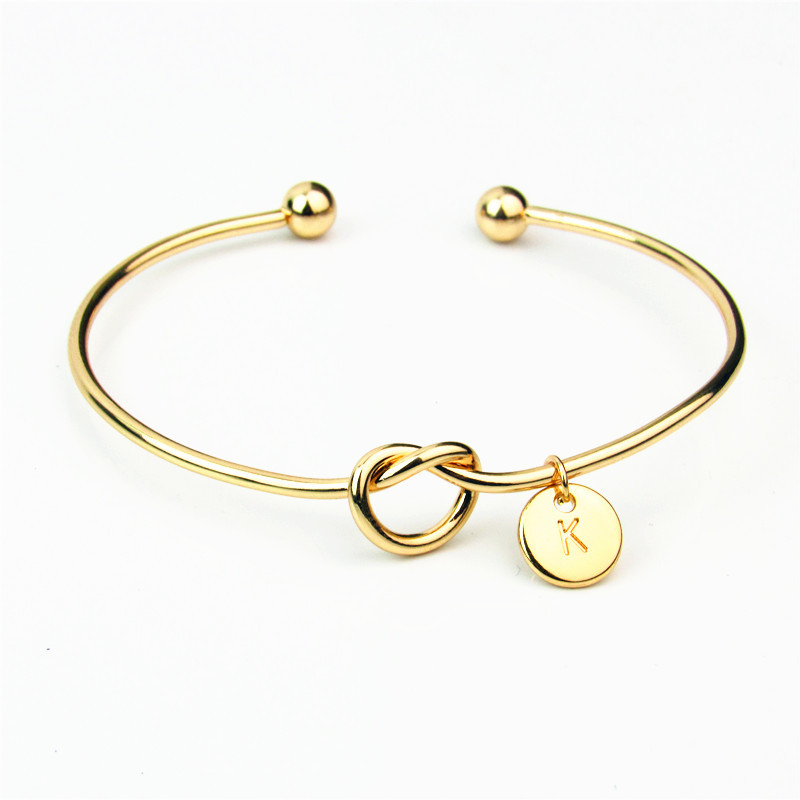 26 A-Z English Letter Initial Bracelet Silver Gold Letter Charms Bracelet Love Bowknot Wristband Cuffs Women Jewelry Will and Sandy Dropship