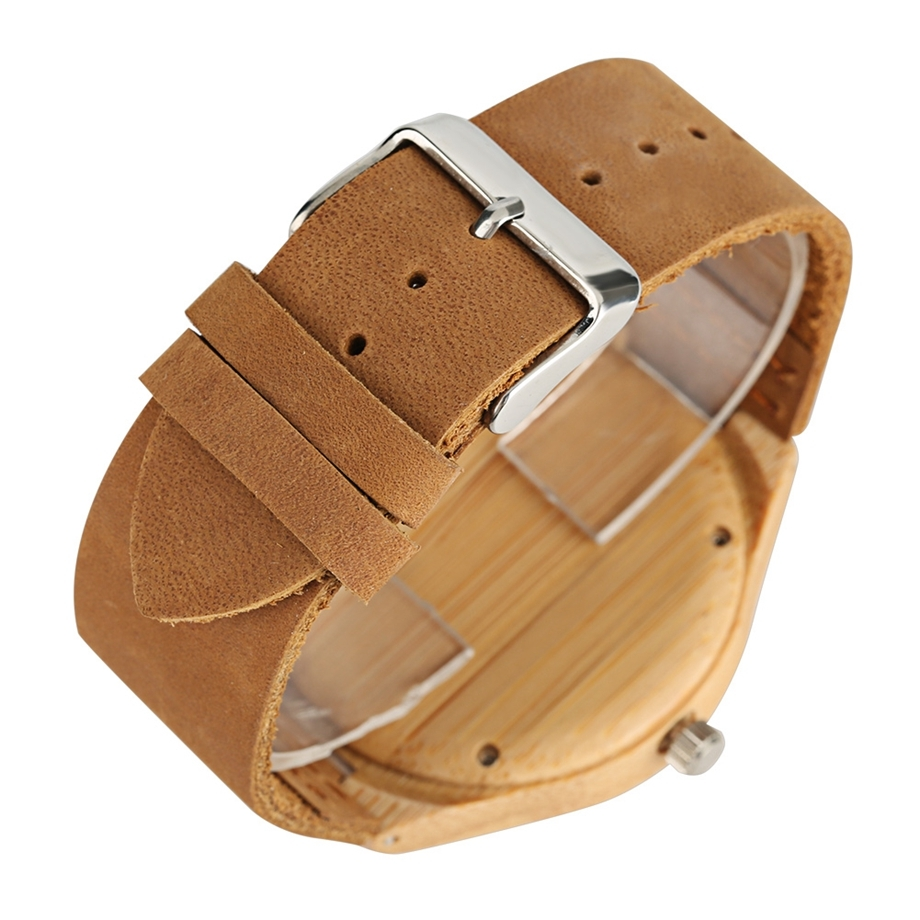 Handmade Wooden Clock Gifts Women Watches Leather Strap Casual Quartz Bamboo Wristwatch Mens Wooden Watches relogio feminino (12)