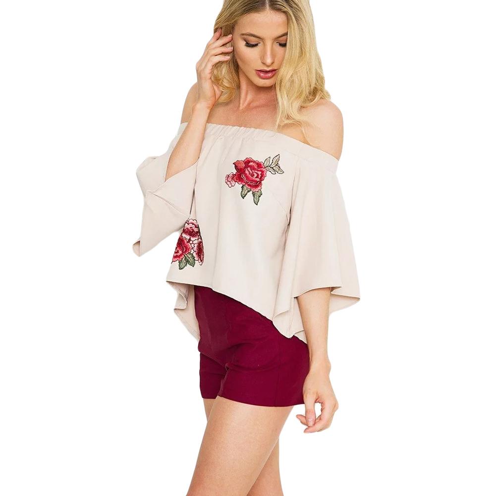 2017 Summer Off Shoulder T-Shirt Floral Embroidery Flare Sleeve Pullover Tops Irregular Hem Casual Loose Tee Beige XL Crop Top