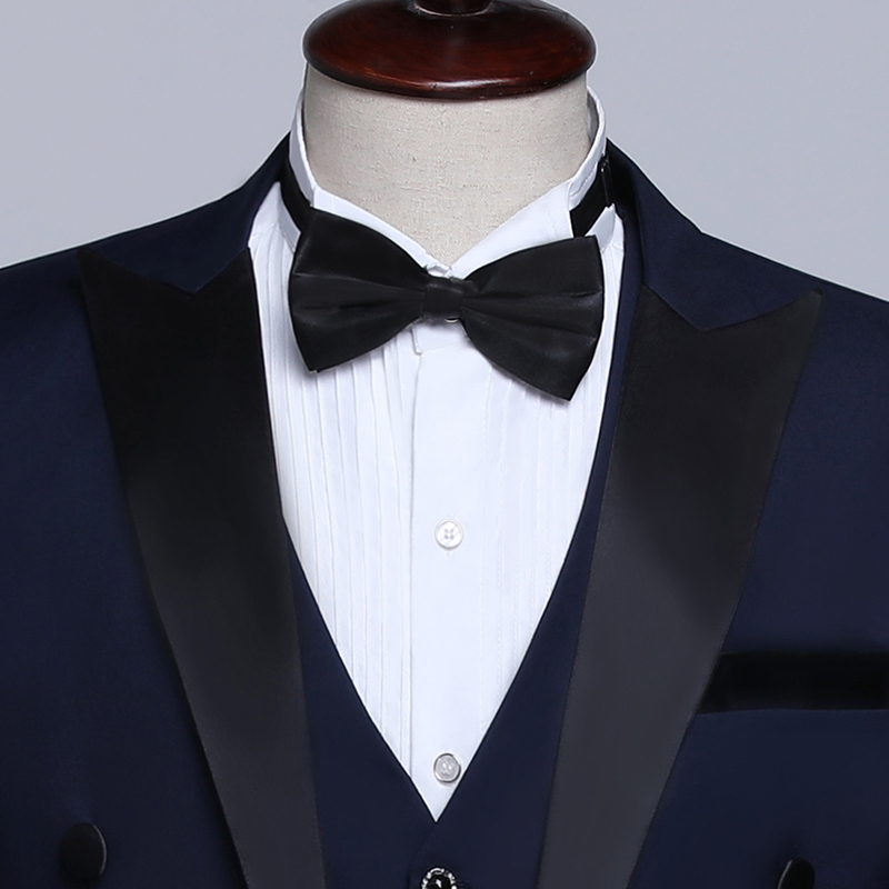 PYJTRL Male Classic Black White Navy Blue Tailcoat Tuxedo Wedding Grooms Suits For Men Party Prom Banquet Stage Singers Costume S18101902