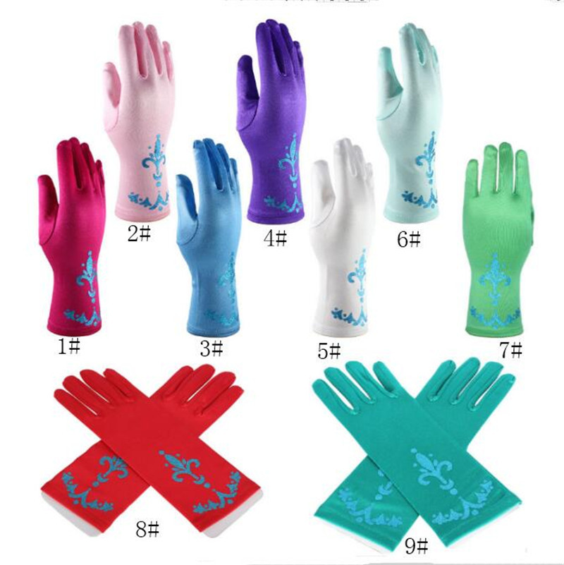 24cm Children Party Gloves Cosplay Frozen Princess Gloves Costume Dresses Dance Stage Gloves Girls Kids Candy Colors Christmas Birthday Gift