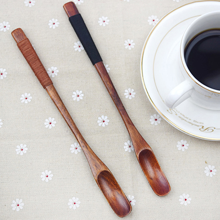6pcs Wood Long Handle Spoons Wooden Coffee Tea Spoon Honey Bar Cocktail Stirring Mixing Spoons Set of 6 Small Wooden Spoons Bar Tea Accessories (4)