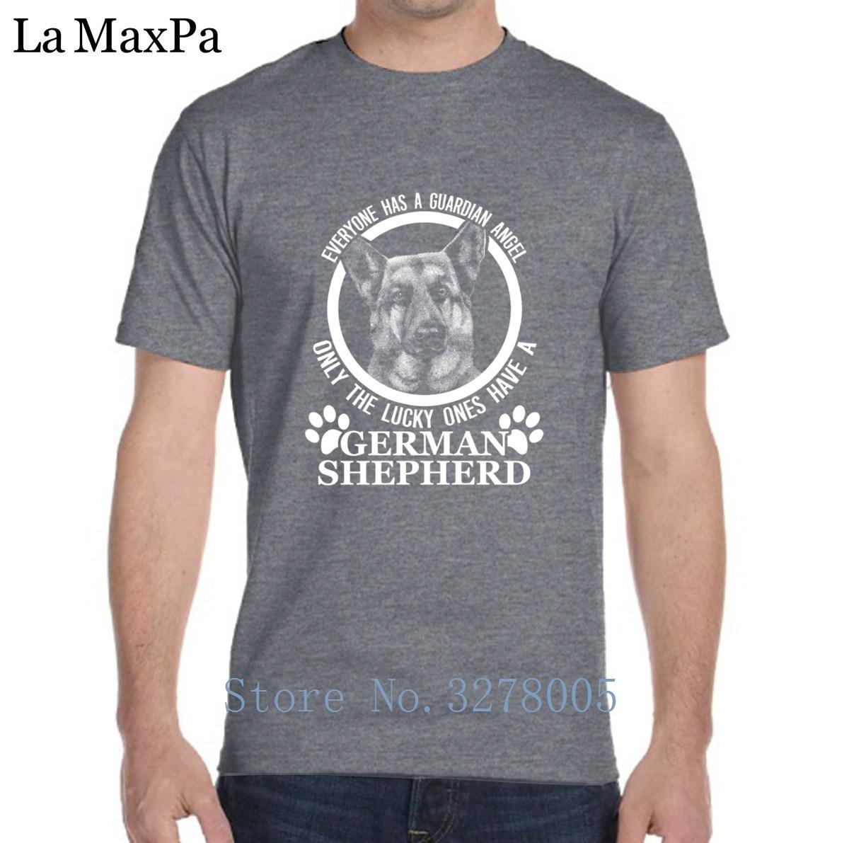 Printing Tshirt Clothes German Shepherd Lover Guardian Angel Men's T Shirt Novelty Cotton Simple Camisas Para Hombre 2018