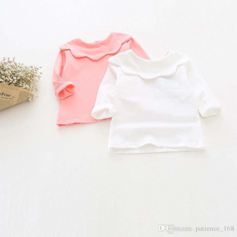 ins Korean cute style baby girl stripe and Solid color Flower collar long sleeve T-shirt 100% cotton kids autumn clothing