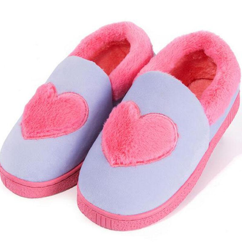 Inverno Mantieni calde scarpe da donna Piattaforme piatte Pantofole Scarpe Cuore interno stampato Ciabatte Pantofole morbide con fondo morbido antiscivolo