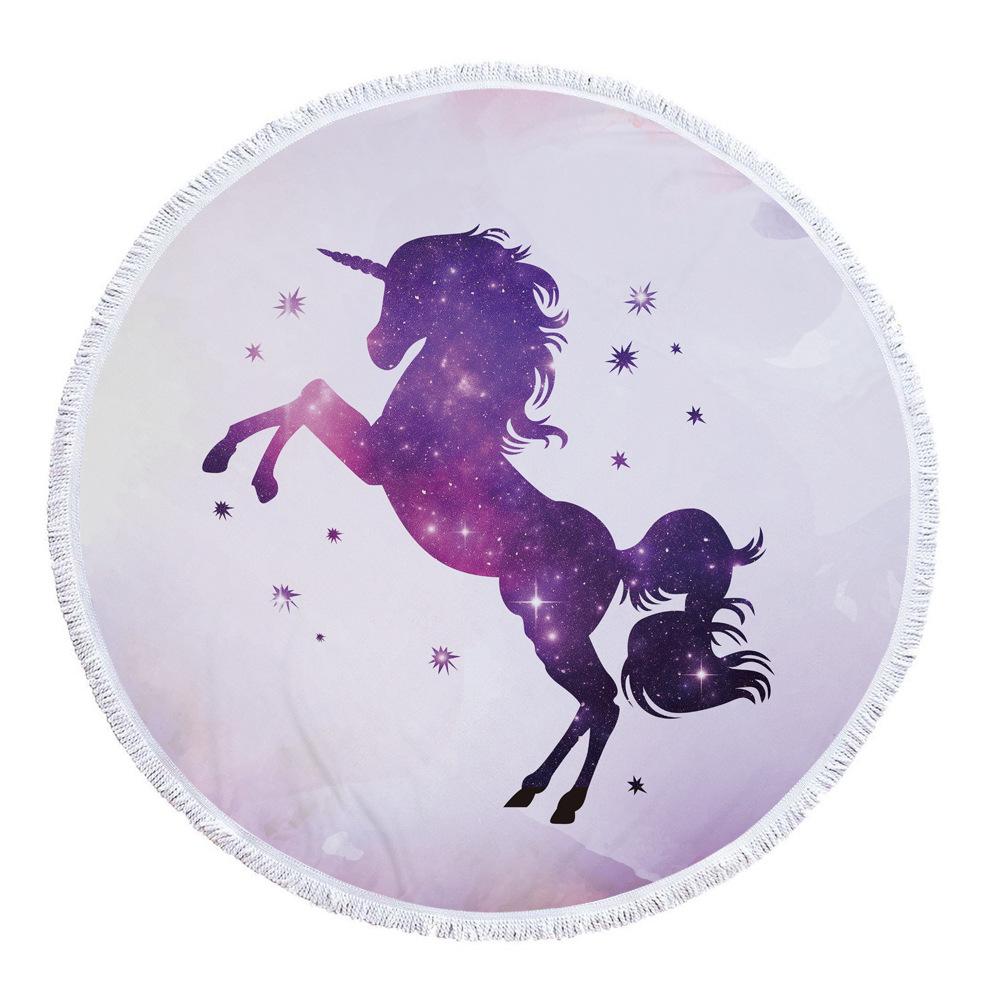 venta al por mayor Sueño Unicornio Impreso 520G Ronda Toalla de Playa Con Borlas de Microfibra 150 cm Manta de Yoga Picnic Cubierta de Playa Toalla de Baño