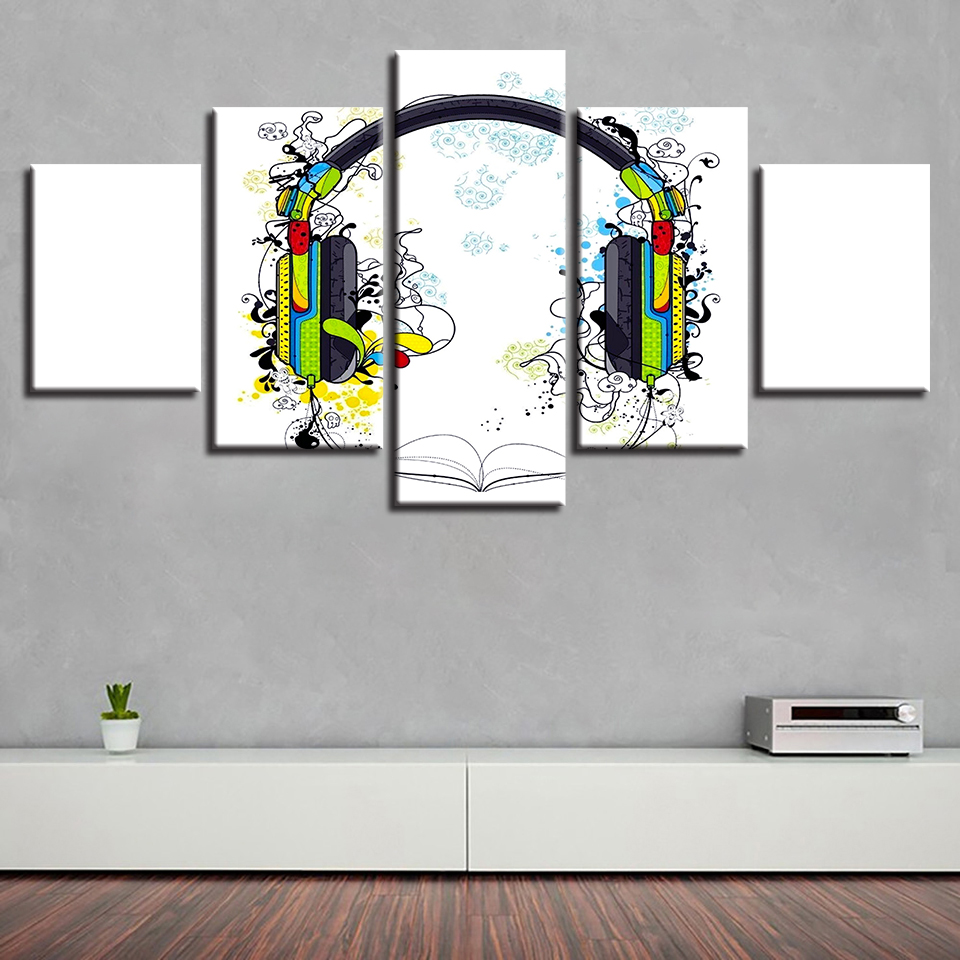 Modern Printing Framework Pictures Music Color Earphone Modular Canvas Paintings Decor Living Room Or Bedroom Wall Art