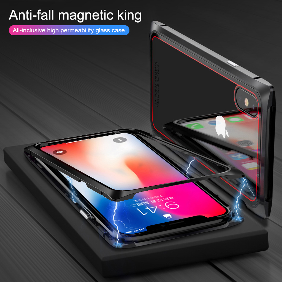 wholesale Magnet Case For iPhone 7 8 Plus Clear Tempered Glass Magnetic Adsorption Case For iPhone X 8 7 Metal Ultra Cover Bumper