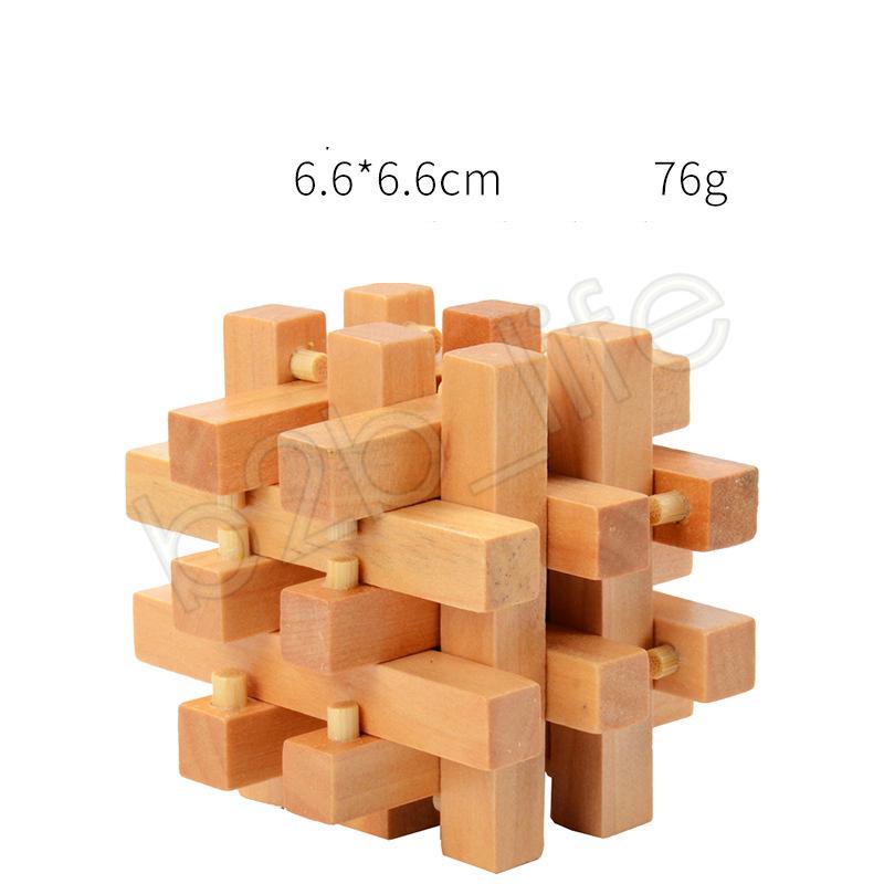 Wooden IQ Brain Teaser Kong Ming luban Lock 3D Interlocked Puzzle Jigsaw Cube Kids Childs Toy Gift Novelty Items GGA1277