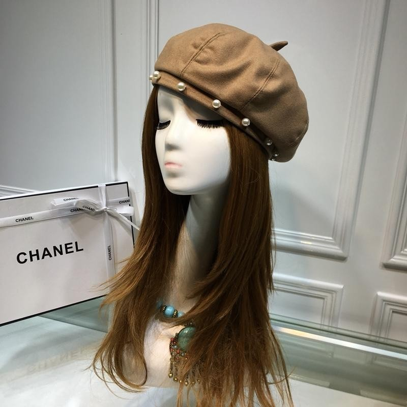 High End Women Men Cap Ladies Hats Counter Pearl Hat Wool Leather Beret Hat With Box