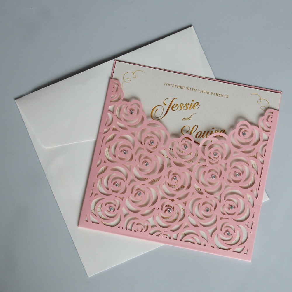 Pink Pocket Wedding Invitations Romantic Rose Invitation Cards With RSVP