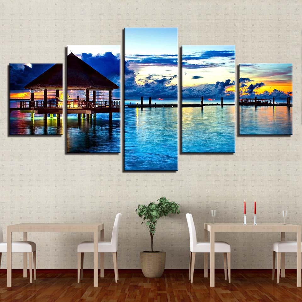 Decorative Modular Pictures 5 Panel Lake Landscape HD Canvas Oil Painting Home Framework Wall Arworkt Prints Poster For Living Room