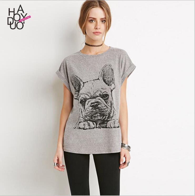 Brand Designer-Sweet Women's T-Shirt Cartoon Tops Interesting French Bulldog Print T-shirt Easy Brand T - shirt Leisure All-match T-shirt