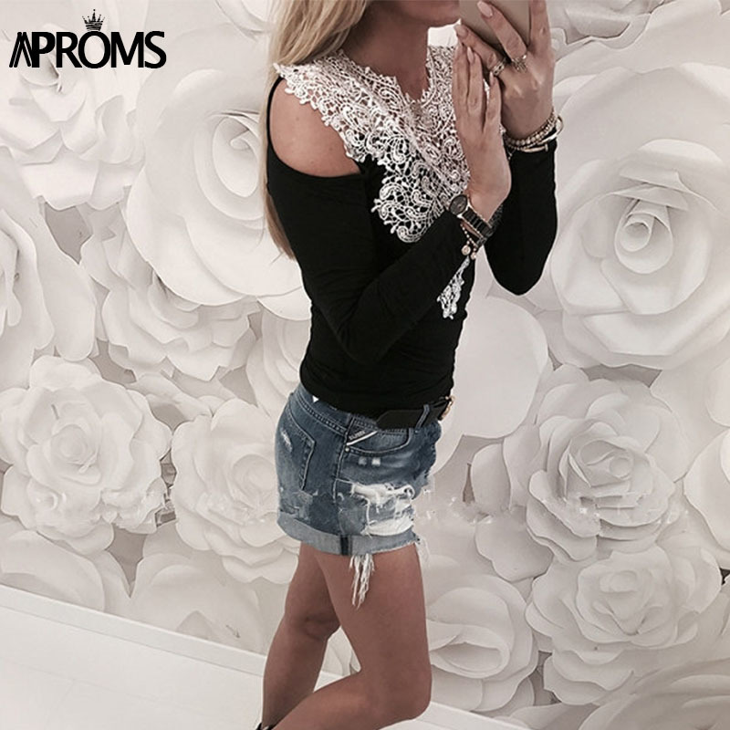 Aproms Lace Crochet Long Sleeve T-Shirt Spring 2018 Women Fashion Pink Gray Cold Shoulder T Shirt Female Casual Slim Fit Top Tee Y1891306