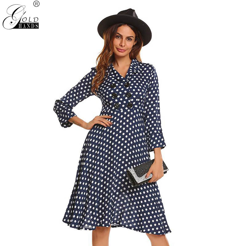 wholesale Long Bohemian Polka Dot Button Three Quarter Batwing Turn Down Collar Summer Dress Women A-line Casual Beach Dress