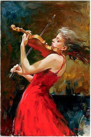 Girls with violin Beautiful woman 4