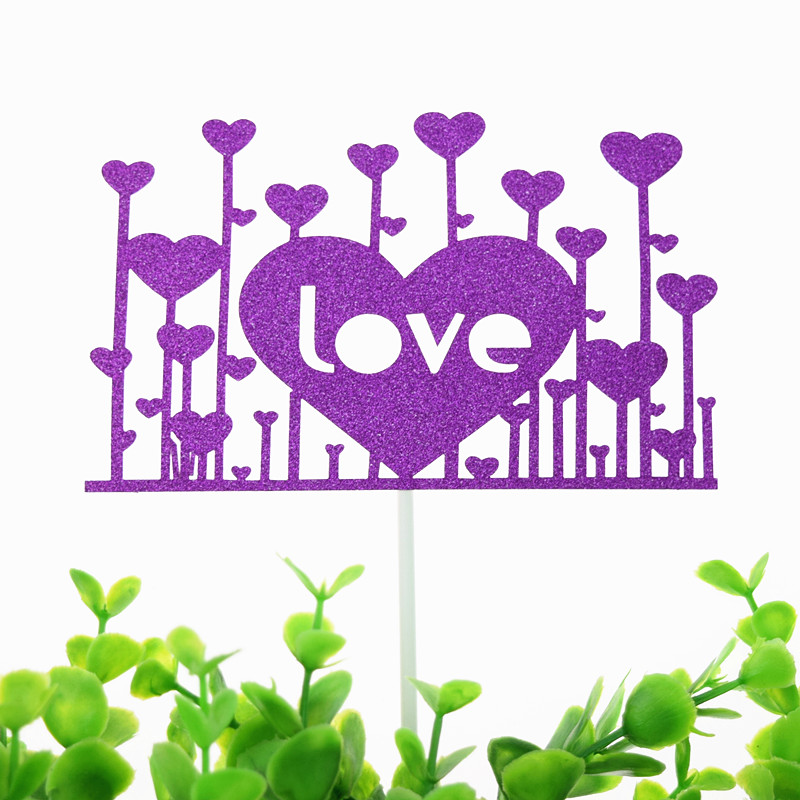 Cake Toppers Flags Kids Birthday Glitter Love Heart Flamingo Cupcake Topper Wedding Bride Party Baby Shower Baking DIY