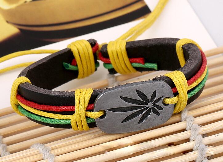 Bob Marley Leather Bracelets Men's Legend Jamaica Wristbands Punk Cool Bangles Wholesale HOT Jewelry Lucky Grass Color Bracelet