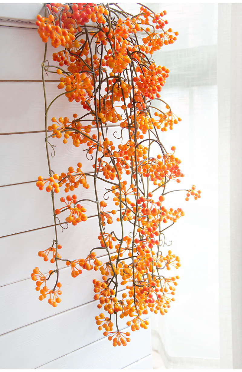 Flone Artificial Flower Branch Fake Red Bean Fruit Vine Simulation Plant Flowers Rattan Wedding Home Party Decoration Floral (6)