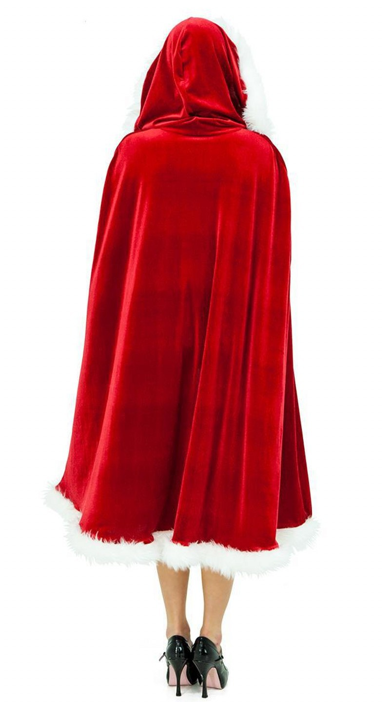 Red Christmas Girl's Cloak Miss Claus Velvet Pleuche Capes Cosplay Costume For Adult Women Hooded Xmas Santa Claus Stage Show Party Clothing