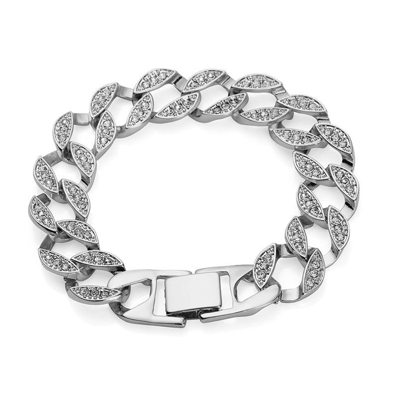 MEN/'S Or//Argent Plaqué Cristal Cubain Link Chain Bracelet Gourmette Bijoux 21 cm