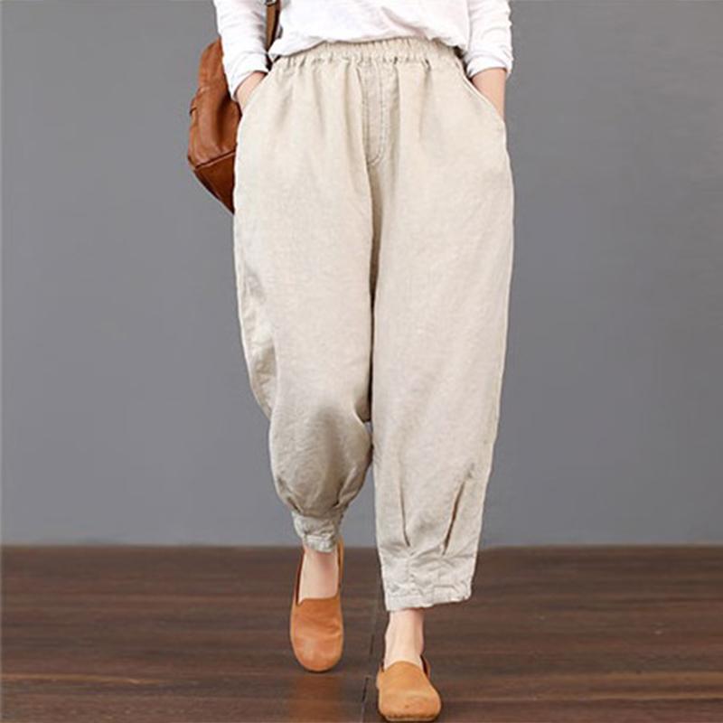 2018 Summer ZANZEA Women Casual High Elastic Waist Pockets Harem Trousers Solid Cotton Linen Loose Cargo Pants Turnip Pantalon C18110901