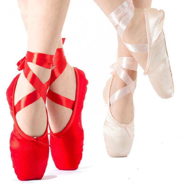 Chaussures de danse filles//femmes chaussures de ballet pointe avec ruban et boutons de pied