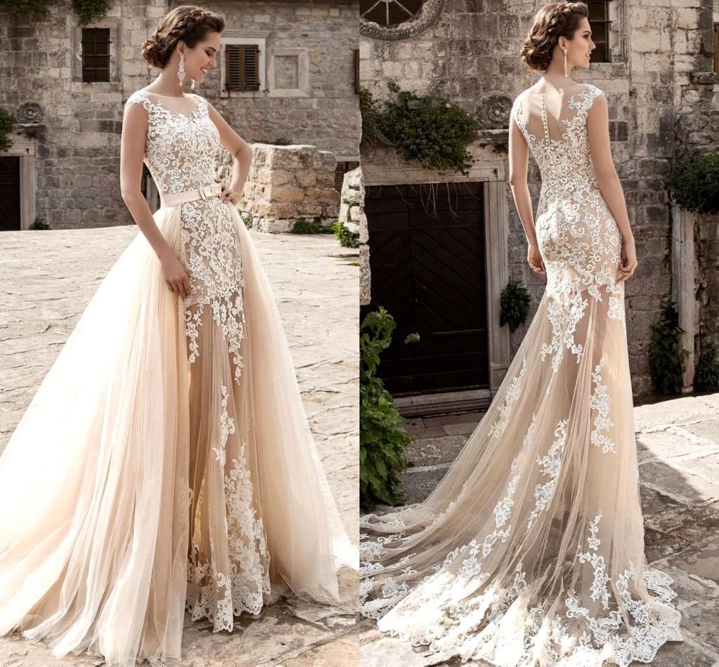 Champagne über Röcke Tüll Brautkleider Mermaid durchschaut Vintage Spitze  Appliqued Schärpe abnehmbaren Zug Boho lang Braut Brautkleider