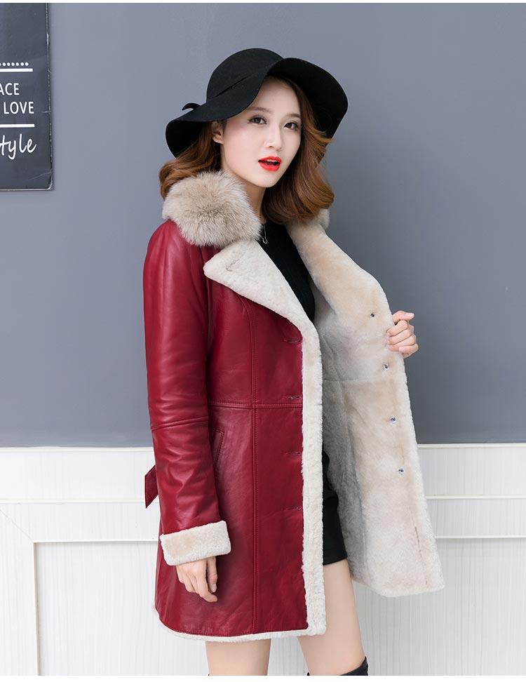 Lammfell Leder Mantel Frauen Schwarz Wein rote Schaf scherende Futter Mantel 2018 Winter verdicken warme weibliche Lederjacke Oberbekleidung