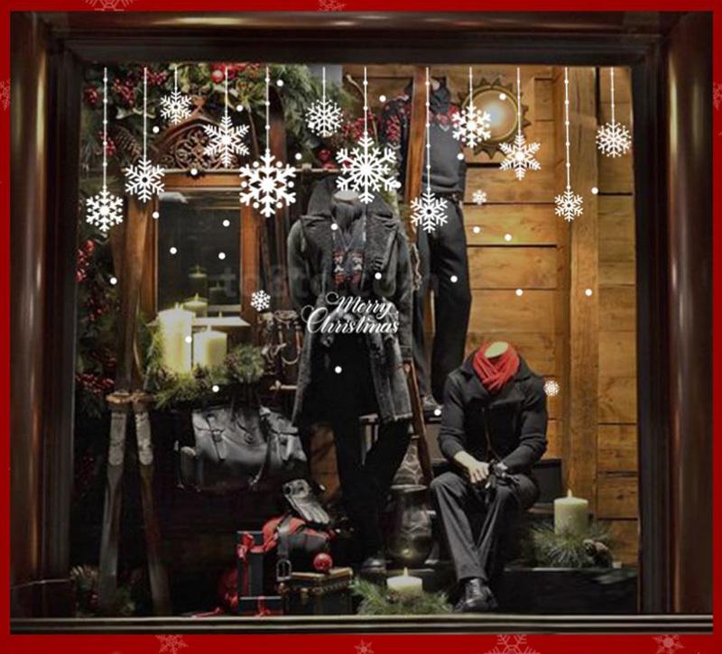 Happy New Year Christmas Decorations for Home Snowflake Glass Sticker Merry Christmas Decor Shop Window Sticker Navidad Natal (5)