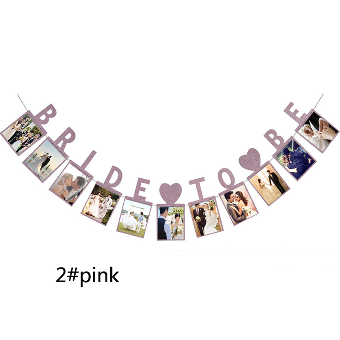 Bride Photo Frame paper Flag Party bell garland Decoration Banner Bunting for wedding event
