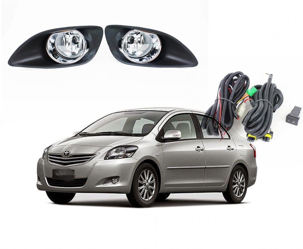Fog Lamp Cover Trim Chrome ABS Fit Toyota Vios Yaris Sedan Belta 2013 2014 2015