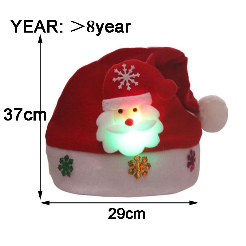 Christmas Hats Santa Cap Kids And Adult Size LEDLight UpLuminous Christmas Hat Decoration New Year Xmas Gifts Party Supplies (2)