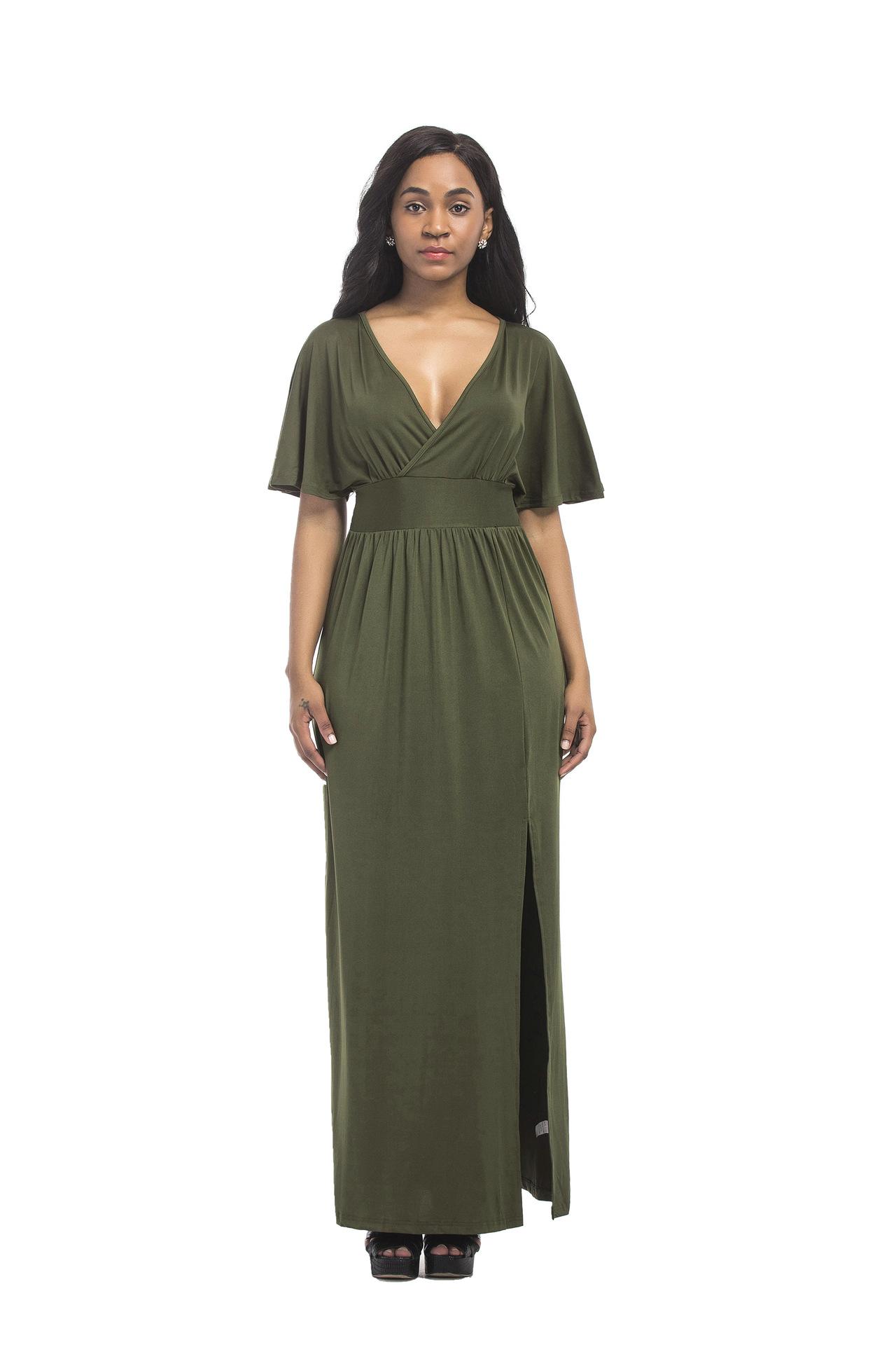 New deep V collar big size women's dress, European and American platform sexy dress FP6008