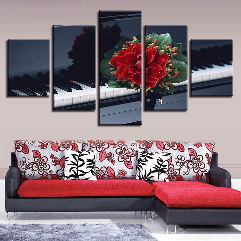 Wall Art Poster Home Decor For Living Room Framework Canvas Flower And Piano Paintings Modular HD Prints Music Pictures