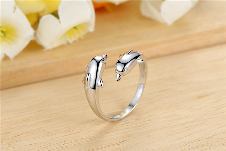 2017 Hot Korean Fashion Personality Double Dolphin 925 Opening Adjustable Silver Plated Female Ring