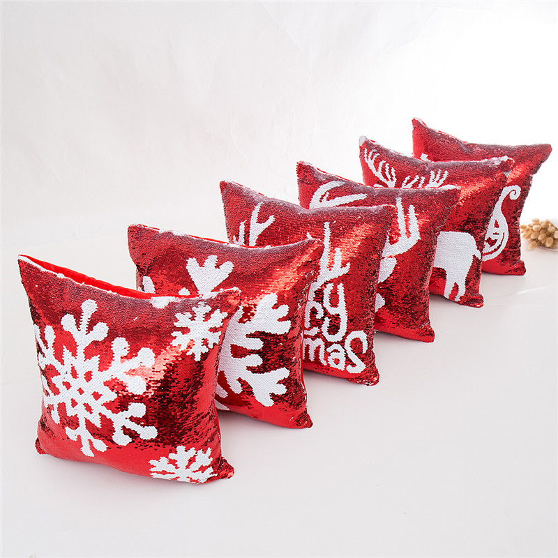 45*45cm Mermaid Sequin Christmas Pillow Case Cover Snowflake Reindeer Pillowcase Home Sofa Car Cushion cover Xmas Decoration halloween New
