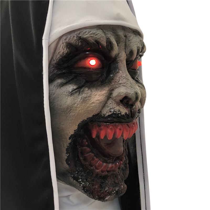 LED The Nun Horror Mask Halooween Valak Scary Masks Latex With Veil Headgear Set Full Face Helmet Cosplay Costumes 2018 Kids LED Toy