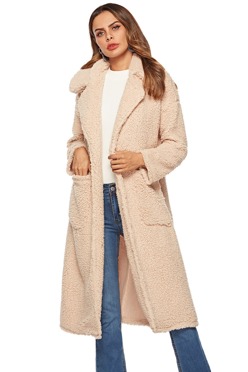faux lambswool women long section coat outerwear-2