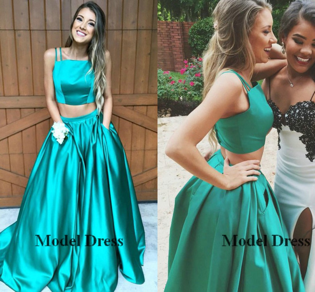 A Line Zweiteiler Prom Kleider mit Tasche Spaghetti-Trägern bodenlangen  einfache grün modische elegante formale Pageant Abendkleider