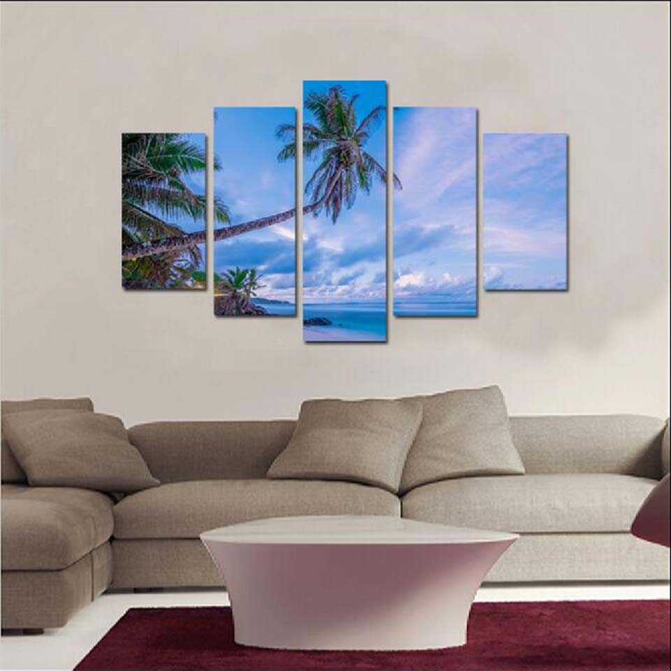 Modular HD Prints Painting Wall Art Framework Coconut Trees White Cloud Sea view Posters Home Decoracion Canvas Pictures