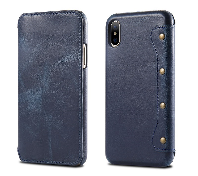 blue leather cover case for iPhone x cell phone vintage wallet capa