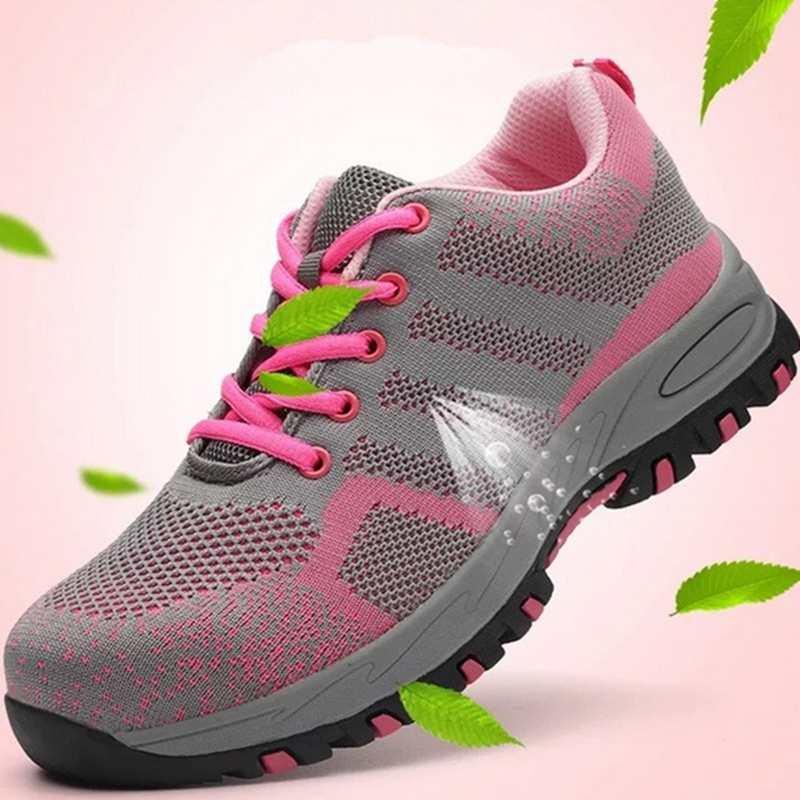 Womens Air Mesh Steel Toe Caps Zapatos de protección duraderos Breathable Work Safety Shoes Anti-Smashing Puncture Proof Shoes
