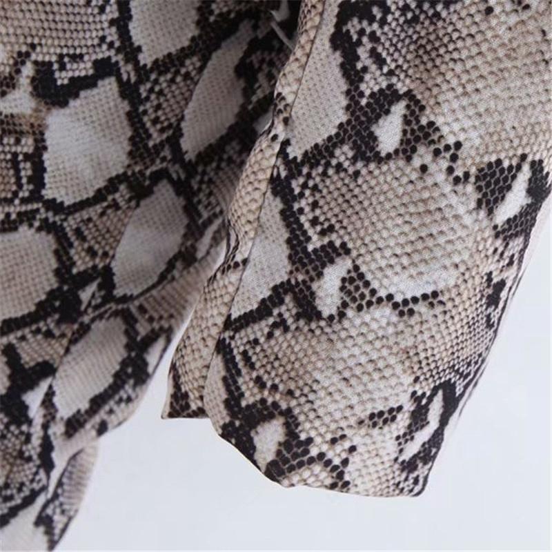 Womens Blazers Long Sleeve Snake Skin Print Long Style Hidden Breasted Ladies Blazers Women Streetwear Outwear S M L (2)