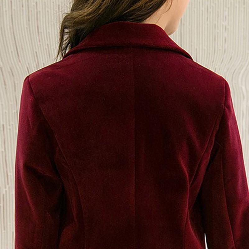 Rot L Huaheng Damen samt Blazer Slim Lang/ärmelig Ol Formell Arbeit Anzug Herbst Jacke